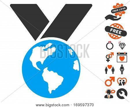 World Medal icon with bonus decorative pictograms. Vector illustration style is flat iconic elements for web design app user interfaces.