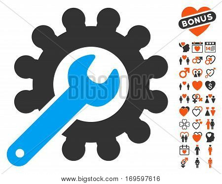 Wrench And Gear Customization Tools icon with bonus lovely pictograms. Vector illustration style is flat iconic symbols for web design app user interfaces.
