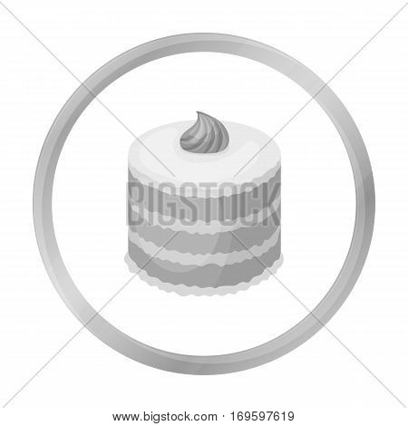 Purple cake icon in monochrome design isolated on white background. Cakes symbol stock vector illustration.