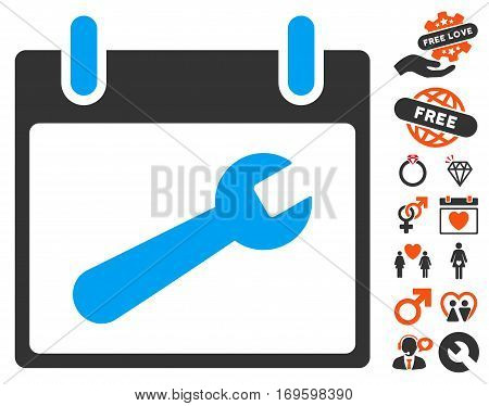 Wrench Tool Calendar Day icon with bonus marriage pictures. Vector illustration style is flat iconic elements for web design app user interfaces.