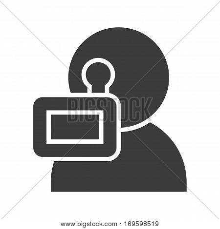 Videographer icon. Silhouette symbol. Negative space. Vector isolated illustration
