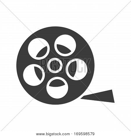 Film reel icon. Silhouette symbol. Negative space. Vector isolated illustration