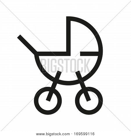 Baby carriage linear icon. Thin line illustration. Vector isolated outline drawing
