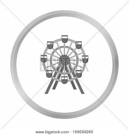 Ferris wheel icon monochrome. Single building icon from the big city infrastructure monochrome.