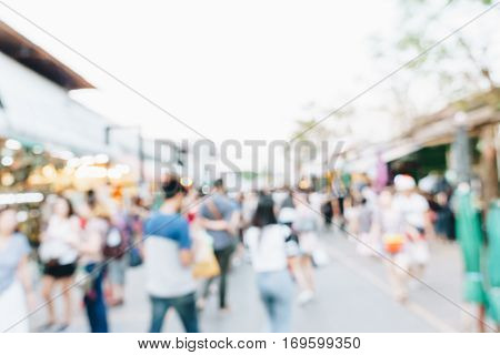 Abstract Blurred Crowd Of People In Chatuchak Weekend Souvenir Market