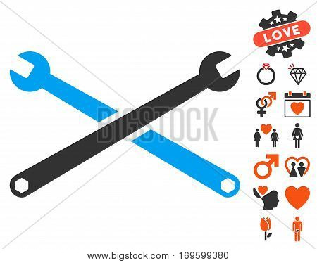 Wrenches pictograph with bonus marriage icon set. Vector illustration style is flat iconic symbols for web design app user interfaces.