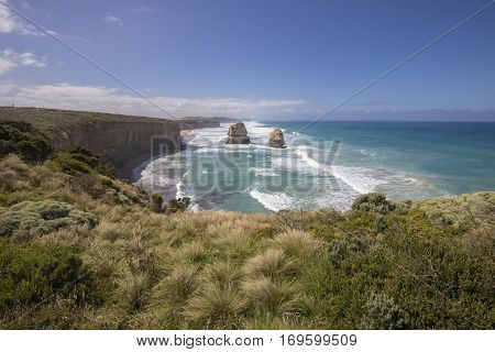 Giant limestone stacks, Gog and Magog. Gibson Steps, Great Ocean Road, Victoria, Australia