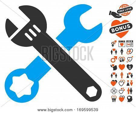 Wrenches icon with bonus passion graphic icons. Vector illustration style is flat iconic symbols for web design app user interfaces.