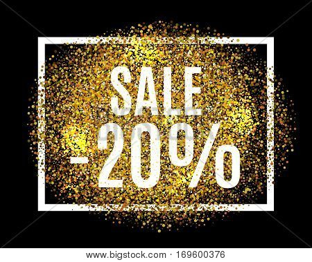 Gold Glitter Background Sale 20 Percent Off Sale Promotion Tag. New Year, Christmas Shop Offer. Gold