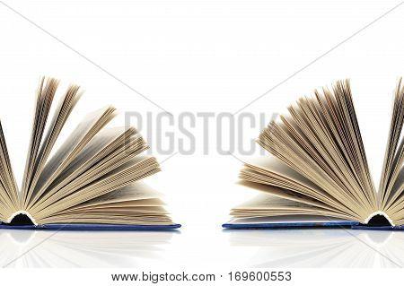 open book on a white background. horizontal photo.