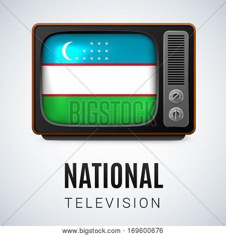 Vintage TV and Flag of Uzbekistan as Symbol National Television. Tele Receiver with Uzbek flag