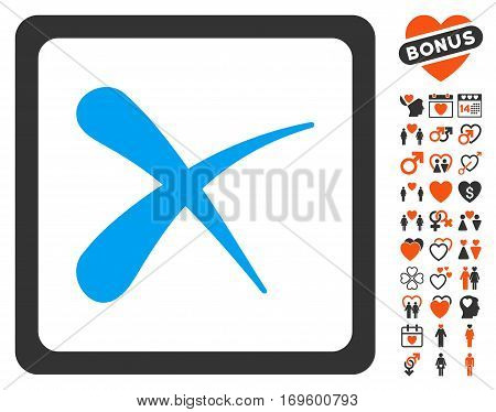 Reject icon with bonus love images. Vector illustration style is flat iconic elements for web design app user interfaces.