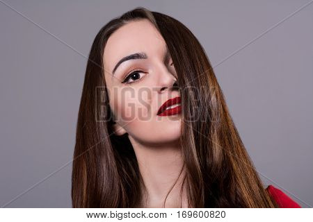 Close Up Of Beauty Woman With Long Dark Hair