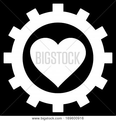 Love Heart Options Gear flat icon. Vector white symbol. Pictograph is isolated on a black background. Trendy flat style illustration for web site design logo ads apps user interface.