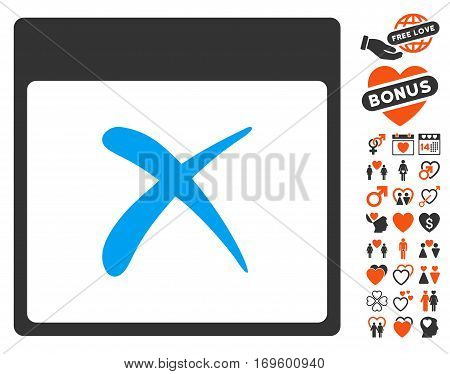 Reject Calendar Page pictograph with bonus passion pictograph collection. Vector illustration style is flat iconic symbols for web design app user interfaces.