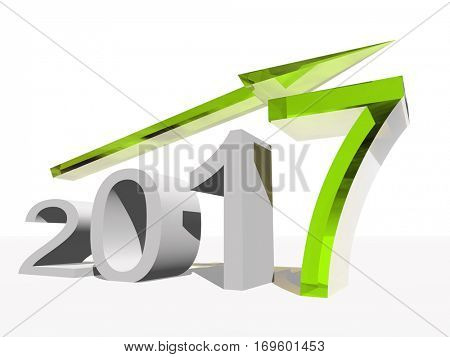 Conceptual 3D illustration green 2017 year symbol with an arrow on background for success growth graph future finance financial new year holiday increase rise date career, forecast, December progress