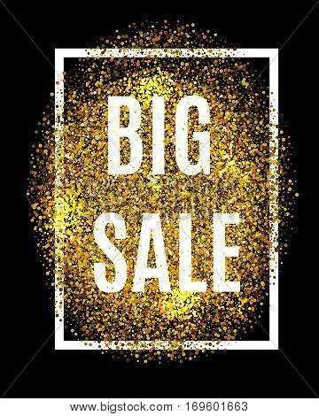 Gold Glitter Background Big Sale Percent Off Sale Promotion Tag. New Year, Christmas Shop Offer. Gol