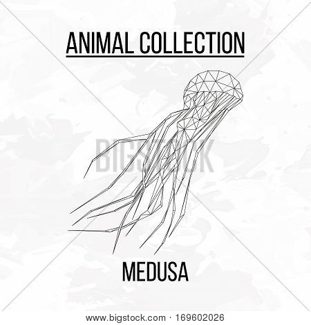 Medusa geometric lines silhouette isolated on white background vintage design element