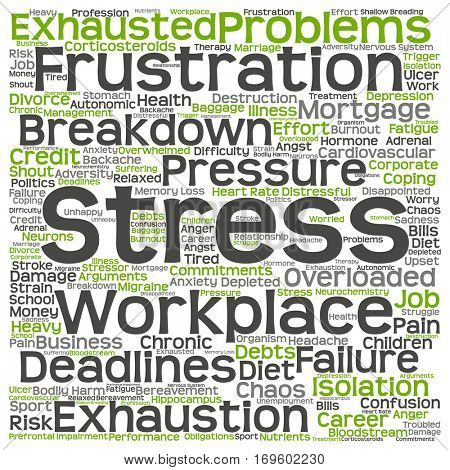 Concept or conceptual training, coaching or learning, study word cloud isolated on background  metaphor to health, work, depression, problem, exhaustion, breakdown, deadlines, risk, pressure