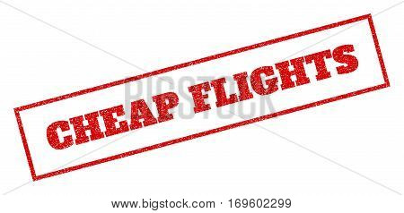 Red rubber seal stamp with Cheap Flights text. Vector caption inside rectangular banner. Grunge design and scratched texture for watermark labels. Inclined sticker.
