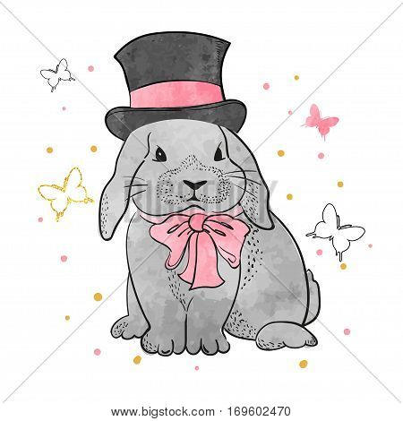 Cute rabbit boy with bow and hat. Vector illustration of bunny for kids design.