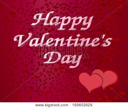 happy valentine's day red hearts background 3D illustration