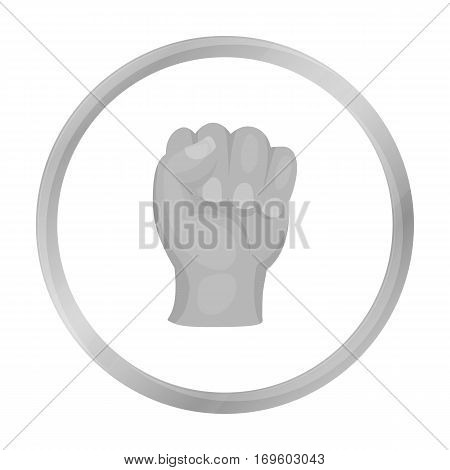 Boxing fist icon in monochrome style isolated on white background. Boxing symbol vector illustration.