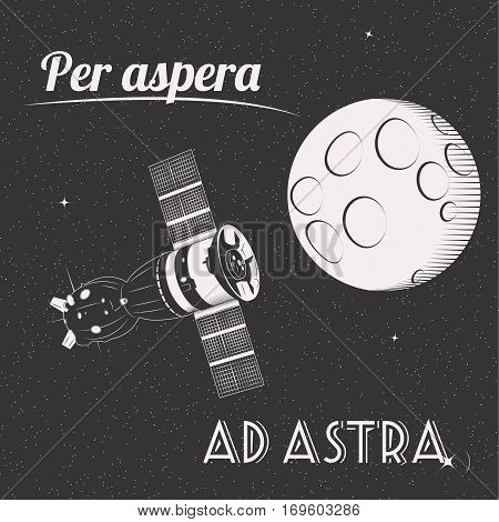 Per aspera ad astra through hardships to the stars t-shirt print moon and satellite in space
