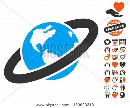 Ringed Planet pictograph with bonus decorative images. Vector illustration style is flat iconic elements for web design app user interfaces.