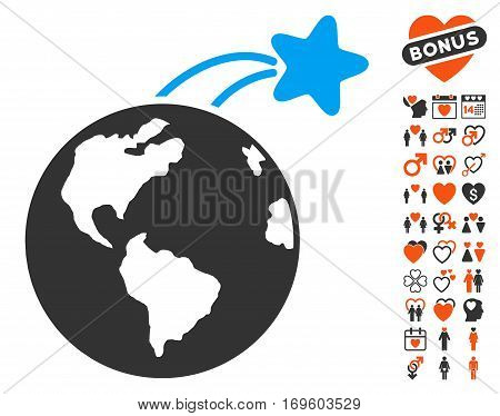 Rising Satellite On Earth pictograph with bonus marriage pictograph collection. Vector illustration style is flat iconic elements for web design app user interfaces.