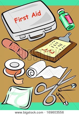 Medical Set Collection cartoon object tools of doctor and nurse including first aid safety box prescription medicine drug plaster pins gauze roll bandage adhesive tape health healthcare concept vector
