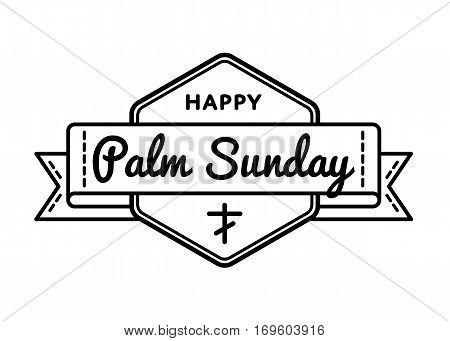 Palm Sunday emblem isolated illustration on white background. 9 april world christian religious holiday event label, greeting card decoration graphic element