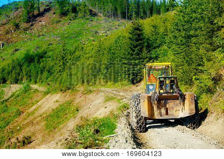 Special forestry tractors, Tractor on forest road