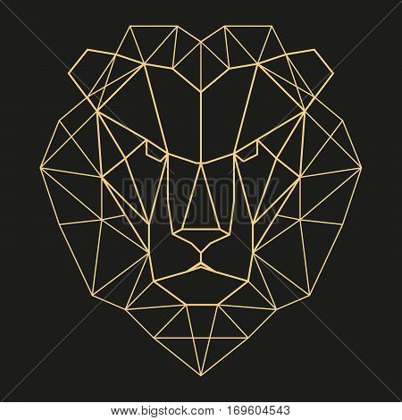 Lion head geometric lines silhouette isolated on black background vintage design element