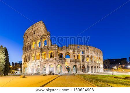 The Colosseum landmark in Rome, Roma Italy.