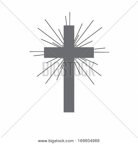 Gray Christian cross with rays. Simple Christian cross ico on light background. Vector illustration.