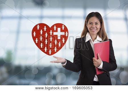 business salesman agent hand pressing button accident prevention concept health-care insurance.