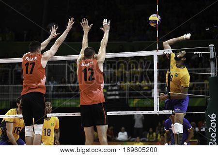 Rio Brazil. August 09 2016. Volleyball men - SCHMITT Gavin SCHMITT during Brazil (BRA) vs Canada (CAN) at the 2016 Summer Olympic Games in Maracanazinho