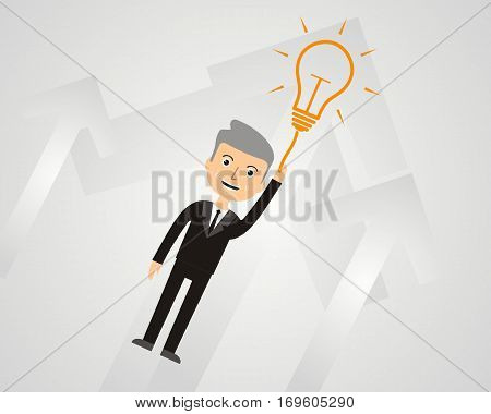 Business Growth and Innovation Concept. Businessman flying on big light bulb. Vector illustration