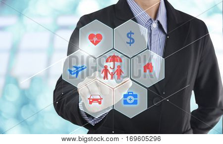 business salesman agent hand pressing button accident prevention concept assurance health-care insurance.