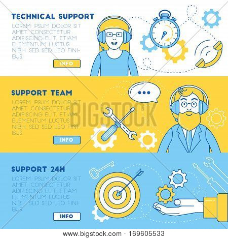 Technical support banners. Support team ready to help solve the problem