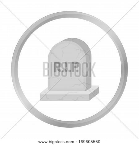 Headstone icon in monochrome style isolated on white background. Black and white magic symbol vector illustration.