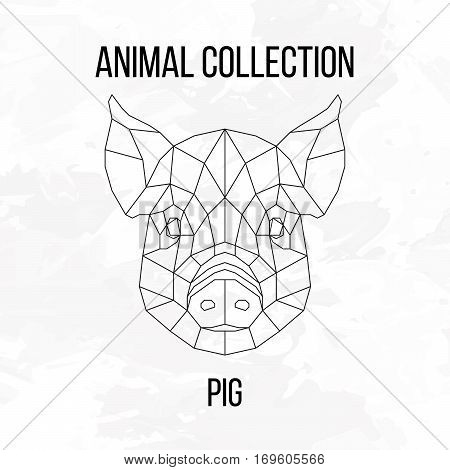 Pig swine hog sow head geometric lines silhouette isolated on white background vintage design element