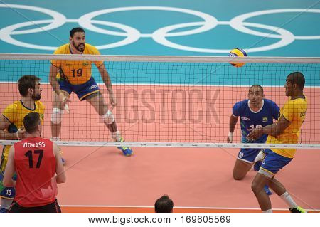 Rio Brazil. August 09 2016. Volleyball men - Sergio Dutra SANTOS (BRA) during Brazil (BRA) vs Canada (CAN) at the 2016 Summer Olympic Games in Maracanazinho