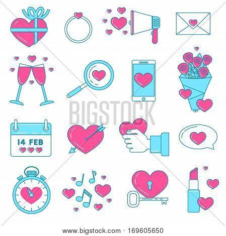 Set Of Valentines Icons.