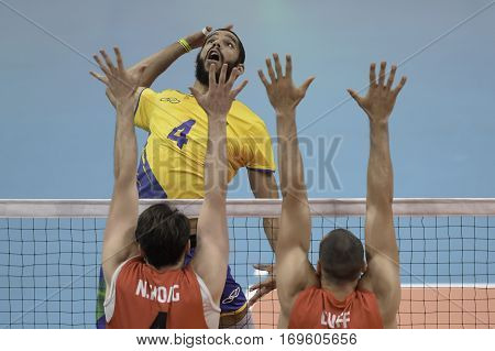 Rio Brazil. August 09 2016. Volleyball men - Wallace de SOUZA (BRA) during Brazil (BRA) vs Canada (CAN) at the 2016 Summer Olympic Games in Maracanazinho