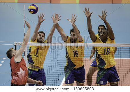Rio Brazil. August 09 2016. Volleyball men - Bruno Mossa REZENDE (C) (BRA) Lucas SAATKAMP (BRA) and LUCARELLI Ricardo (BRA) during Brazil (BRA) vs Canada (CAN) at the 2016 Summer Olympic Games in Maracanazinho