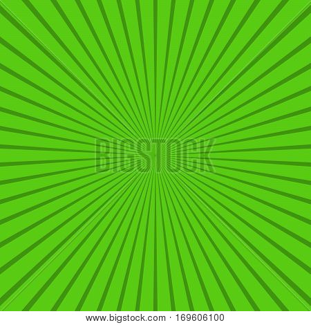 Abstract sunbeams background. Green sunbeams background. Vector illustration. Abstract bright background.