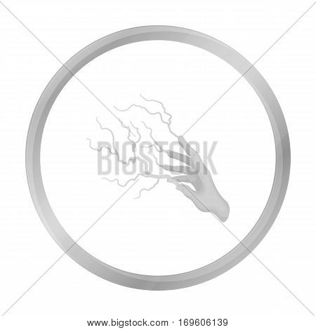 Lightning spell icon in monochrome style isolated on white background. Black and white magic symbol vector illustration.