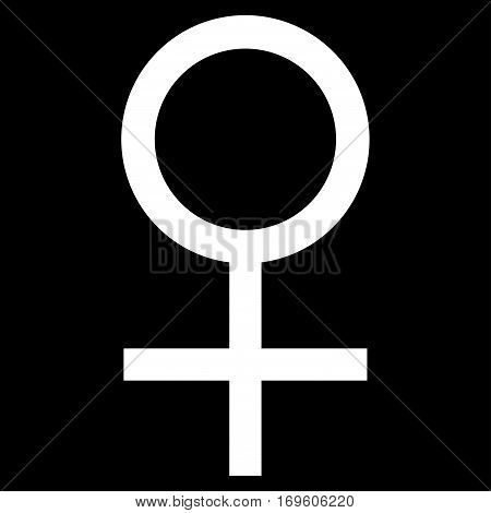 Venus Female Symbol flat icon. Vector white symbol. Pictograph is isolated on a black background. Trendy flat style illustration for web site design logo ads apps user interface.